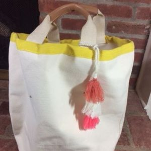 LOFT Extra Large Canvas Tote Beach & Grocery Carry
